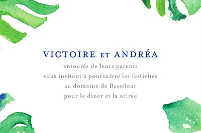 Carton d'invitation mariage Acapulco blanc & vert finition