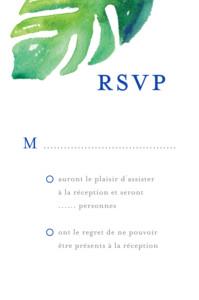 Carton réponse mariage Acapulco blanc & vert