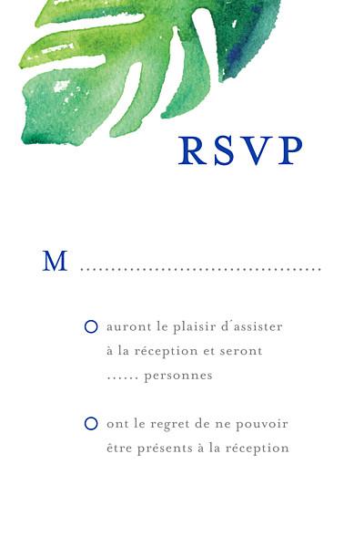 Carton réponse mariage Acapulco blanc & vert finition