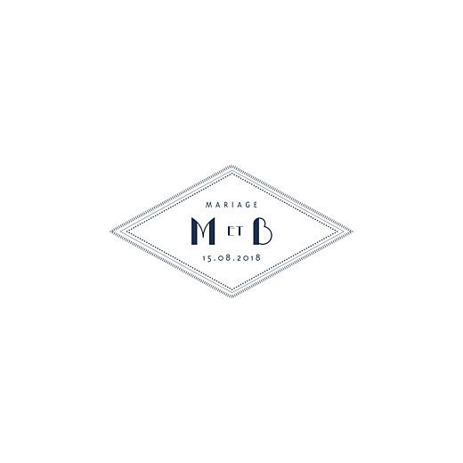 Faire-part de mariage Monogramme (carré) bleu marine