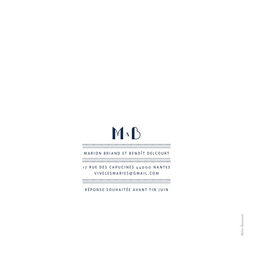 Faire-part de mariage Monogramme (carré) bleu marine - Page 4