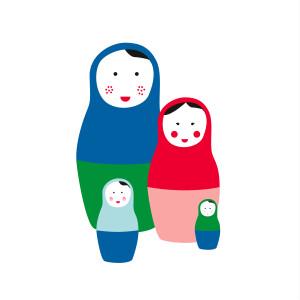 Faire-part de naissance 4 poupées russes photo bleu & rouge