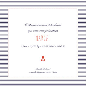 Faire-part de naissance Matelot photo (4 pages) rouge & bleu
