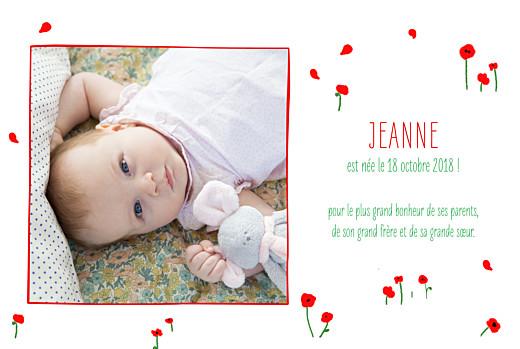 Faire-part de naissance Coquelicots (4 pages) rouge