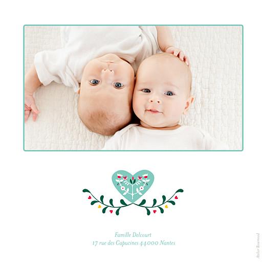 Faire-part de naissance Folk 2 photos jumeaux bleu