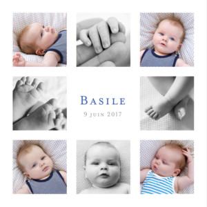 Faire-part de naissance Simple 8 photos blanc