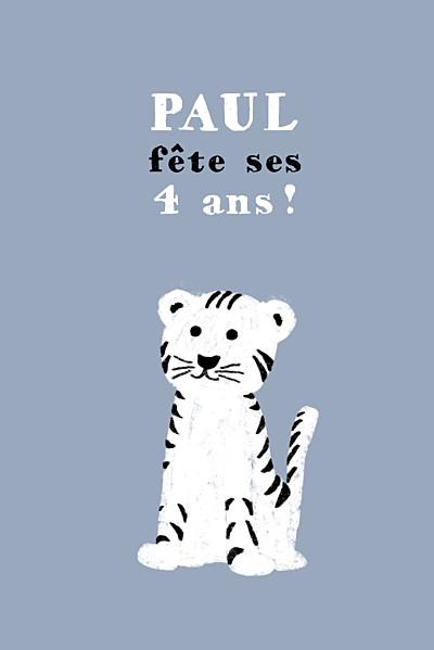 Carte d'anniversaire Bigre un tigre gris & blanc finition