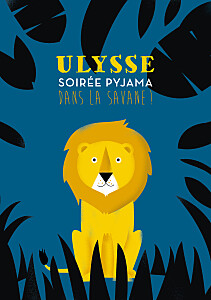 Carte d'anniversaire jaune safari bleu & jaune