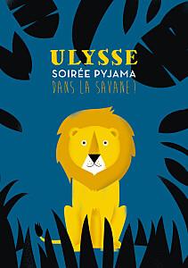 Carte d'anniversaire moderne safari bleu & jaune