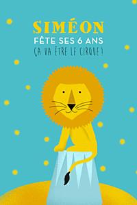 Carte d'anniversaire jaune fanfaron le lion turquoise & jaune