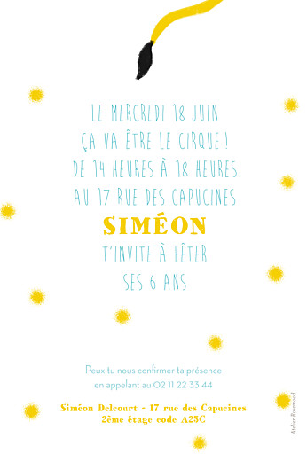 Carte d'anniversaire Fanfaron le lion turquoise & jaune - Page 2