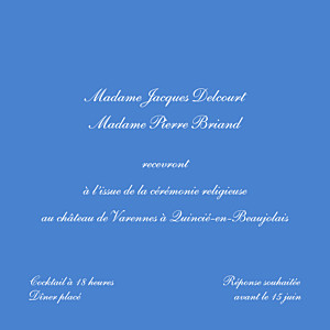 Carton d'invitation mariage Chic médaillon bleu