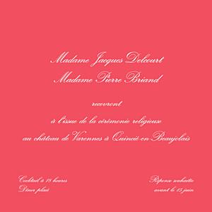 Carton d'invitation mariage Chic médaillon grenadine