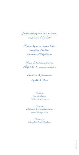 Menu de mariage Chic médaillon bleu