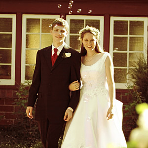 Carte de remerciement mariage Chic médaillon bleu