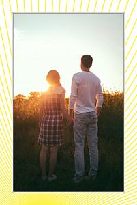 Carte de remerciement mariage Sunlight photo (portrait) jaune