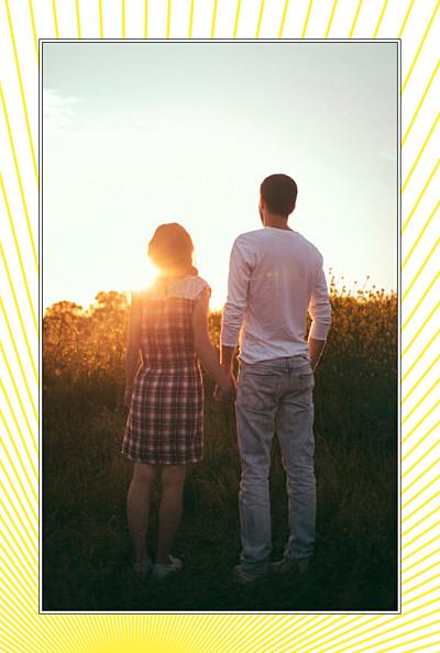 Carte de remerciement mariage Sunlight photo (portrait) jaune finition