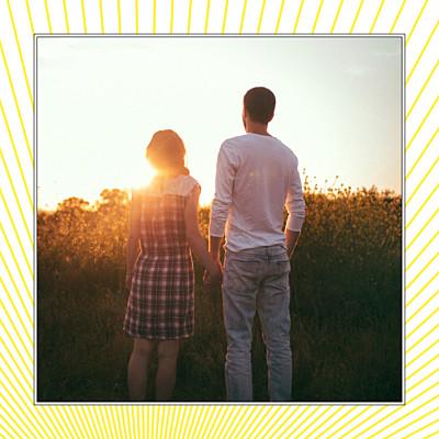 Carte de remerciement mariage Sunlight photo jaune finition