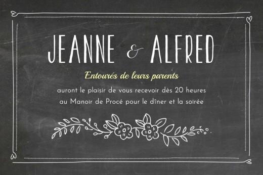 Carton d'invitation mariage Ardoise noir