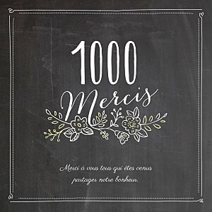 Carte de remerciement mariage Ardoise 3 photos fleurs noir