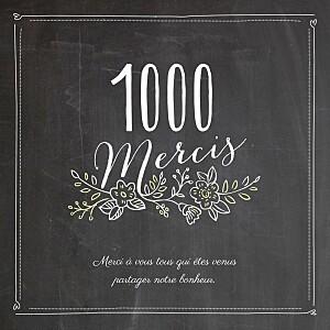 Carte de remerciement mariage noir ardoise 3 photos fleurs noir