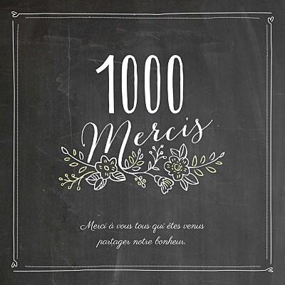 Carte de remerciement mariage Ardoise 3 photos fleurs noir finition
