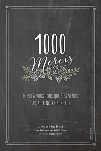 Carte de remerciement mariage noir ardoise 6 photos fleurs noir
