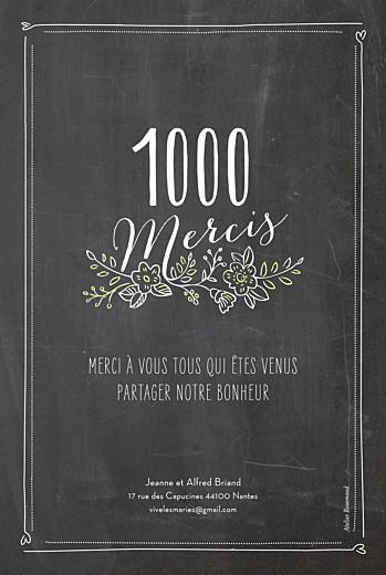 Carte de remerciement mariage Ardoise 6 photos fleurs noir