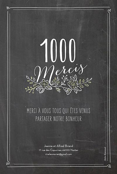 Carte de remerciement mariage Ardoise 6 photos fleurs noir finition