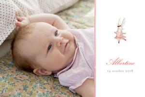 Faire-part de naissance Pirouette photo paysage rose