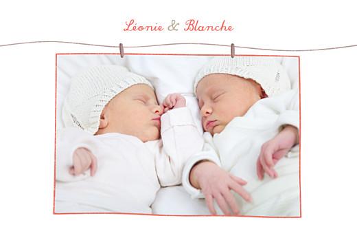 Carte de remerciement Chaussures jumelles photo corail