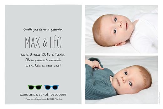 Faire-part de naissance Jumeaux lunettes garçons bleu & vert