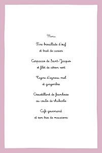Menu de baptême Coquette rose