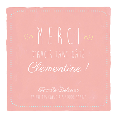 Carte de remerciement Merci happy day photo corail finition
