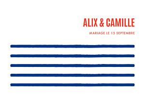 Carton d'invitation mariage Marinière bleu marine