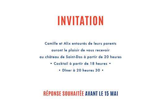 Carton d'invitation mariage Marinière bleu marine & pompon rouge