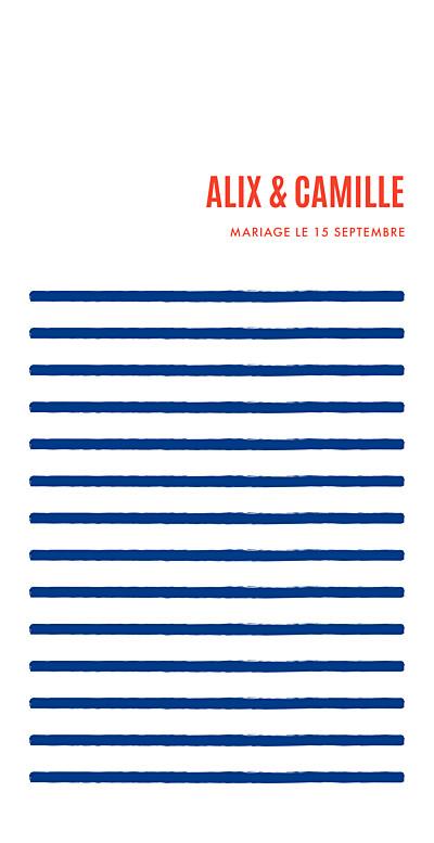 Menu de mariage Marinière bleu marine finition