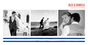 carte de remerciement mariage marinire 3 photos bleu marine - Carte De Remerciement Mariage
