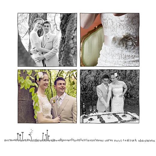 Carte de remerciement mariage Promesse champêtre (5 photos) blanc