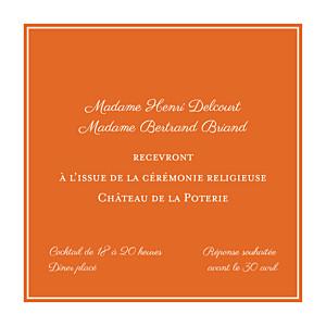 Carton d'invitation mariage orange carré chic orange