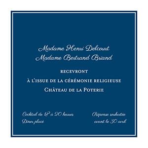 Carton d'invitation mariage avec photo carré chic bleu marine