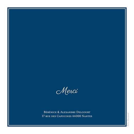 Carte de remerciement mariage Carré chic bleu marine - Page 2