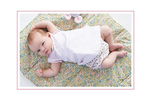 Faire-part de naissance Liberty tradition photo rose