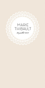 Menu de mariage beige boudoir dentelle beige blanc
