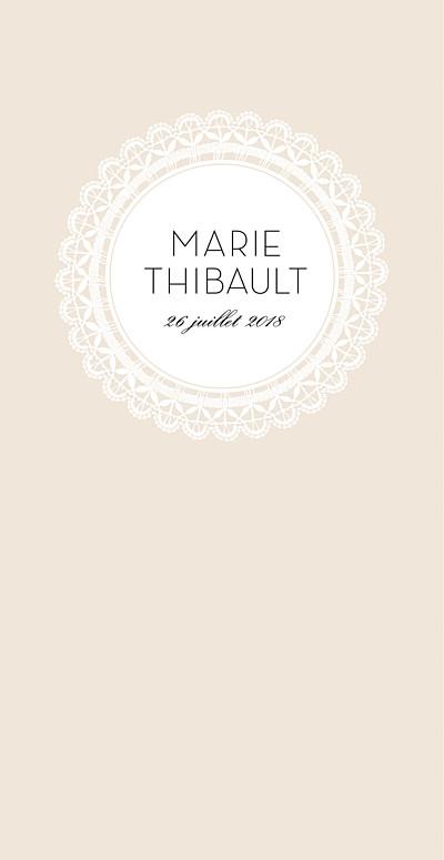 Menu de mariage Boudoir dentelle beige blanc finition