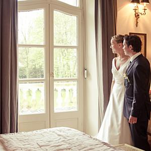 Carte de remerciement mariage vintage l'essentiel kraft & bleu-violet