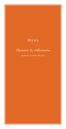 Menu de mariage Carré chic (4 pages) orange - Page 1