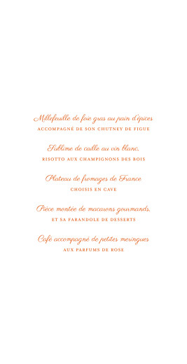Menu de mariage Carré chic (4 pages) orange