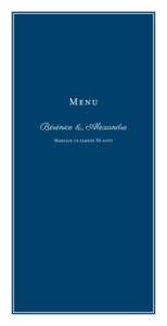 Menu de mariage Carré chic bleu marine