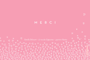 Carte de remerciement Petite envolée de coeurs photo rose